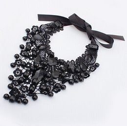 Wholesale Necklace Female Collar - colier Gothic female jewelry black lace necklaces & pendants short choker women accessories false collar statement necklace