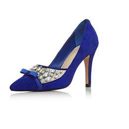 Wholesale Mature Ladies Women - Royal Blue Suede Women Dress Shoes Pointed Toe Ladies Pumps Stilettos High Heels Slip-on Mature OL Shoes For Ladies 2016 Plus Size