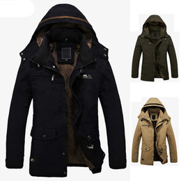 Wholesale Wool Army Winter Overcoat - S5Q Men's Fur Lined Jacket Thick Long Warm Winter Fit Hooded Coat Overcoat Parka AAADXY