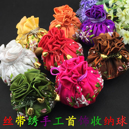 Wholesale Small Silk Jewelry Bags - Hand Ribbon Embroidery Small 8 Jewelry Pouches Drawstring Cotton filled Silk Cloth Gift Packaging Bags 10pcs lot mix color Free shipping