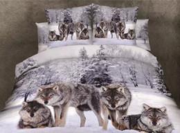 edredão de rainha Desconto Natureza puro algodão cinza fundo com lobo Duvet Quilt cobre Cama queen size 3D impressão digital lobo 4 pc set FRETE GRÁTIS