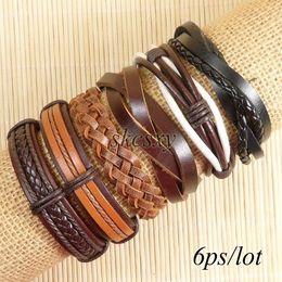 Wholesale Ethnic Tribal Leather Bracelet - Free shipping wholesale (6pcs lot) cool bangles ethnic tribal genuine adjustable leather bracelet for unisex-TE53