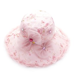 Wholesale Large Pink Rhinestone - Wholesale-Demarkt Women Lady Flower Sun Hat Large Brimmed Hat Rhinestone Foldable Lace Sun Hat