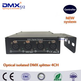 Wholesale Optical Stages - DHL Free shipping 100% Optical isolated DMX splitter 4 way dmx splitter for stage light