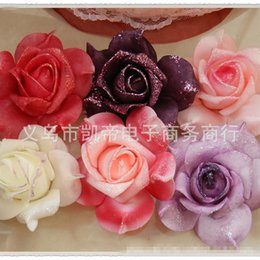 Wholesale Fake Flower Crafts - 2 set HUADODO 8cm Rose Flower Head Artificial Flowers for Wedding Decoration Ball Craft Fake Flowers 100pieces lot