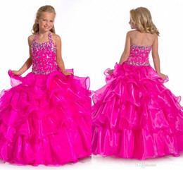 Wholesale Tutu Flower Girl Dresses China - New Long Ball Gowns Handmade Tutu Flower Girl Dresses Organza Ruffles Beaded Halter Neck Open Back China Pagent Party Dresses Hot Sale
