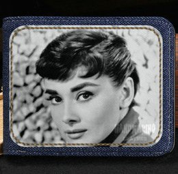 Wholesale Beautiful Women Photos - Audrey Hepburn wallet Beautiful woman purse Beauty sport short cash note case Money notecase Leather burse bag Card holders