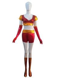 Wholesale Shiny Superhero Zentai - Iron Man Ironette Shiny Metallic Superhero Costume Halloween Party Cosplay Zentai Suit