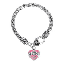 Wholesale Unique Heart Jewelry Sets - Unique Special Design Rhodium Plated Zinc Alloy Mixcolor Crystal Heart Alphabet MY GIRL Pendant Bracelets For Woman Jewelry Gifts