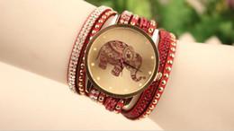 Wholesale Diamante Watches - Bracelet Elephant watch new listed watches fashion diamante Korea velvet bracelets table elephant pattern Free shipping gift mixs color