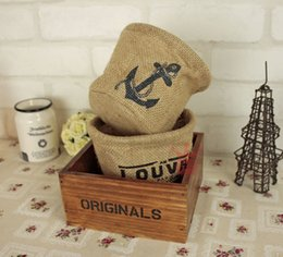 Wholesale Storage Baskets Japanese - Wholesale-The new Japanese zakka jute desktop clutter basket flower pot storage bucket free shipping
