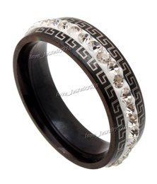 Wholesale Fasion Rings - Hot Selling Fashion Men Women 316L Great Wall Stainless Steel Black White CZ Rhinestone Ring Gift Fasion jewelry