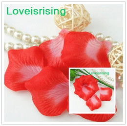 Wholesale Petal Fabric - Tracking number--10 packs(1440pcs) Red&White Non-Woven Fabric Artificial Rose Flower Petal For Wedding Party Favor Decor