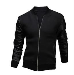 Wholesale Korean Slim Leather Jacket - Small young men PU leather jacket autumn coat Slim tide Korean fashion stitching men's jacket coat autumn
