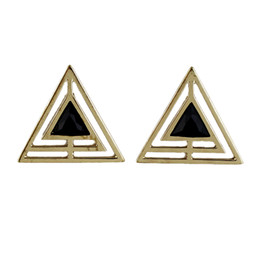 Wholesale Triangle Shape Earrings Studs - Min Order $5 New Arrival Black Enamel And Hollow Out Gold Color Alloy Triangle Shape Stud Earring for Women