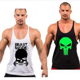 Wholesale Singlet White - New 2017 Superhero Punisher Muscle Tank Top Men Gym Stringer Fitness Bodybuilding Workout Vest Cotton Sport Loose Singlet