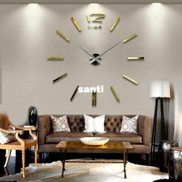 Wholesale Wholesale Quartz Wall Clock - Home DIY decoration large quartz Acrylic mirror wall clock Safe 3D Modern design & Fashion Art decorative wall stickers Watch
