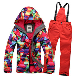 Wholesale Womens Skiwear - Wholesale-2015 womens ski suit snowboard set women ladies snow suit skiwear geometric jacket and red pants high quality free shipping