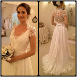 Wholesale White Lace Beach Wrap Long - 2016 New Cap Short Sleeve Scoop Neck Bow Lace Chiffon Long Beach Wedding Dress Bridal Gowns vestidos de noiva Custom Made