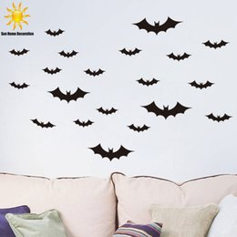 Wholesale Vinyl Autocollant - New Halloween Black bat wall sticker home decor living room bedroom decor wall art stickers autocollant