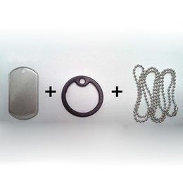 100 conjuntos / lote aço inoxidável-borda ondulação Exército Dog Tags (tags + silenciadores + correntes) Em Branco Militar Rolling edge Dog Tags de Fornecedores de rolos de corrente