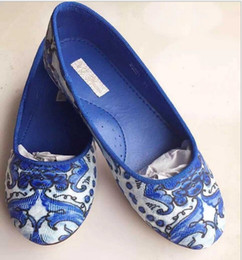 Wholesale Dress Shoes For Children - 6 Color Wlmonsoon 2015 Sweet Girls Flora Print Jacquard Shoes Flower Children Kids Girl Slip-on Party Dance For Dress Flats K5183