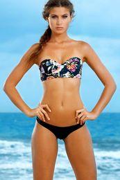 Wholesale Young Girls Bikinis - High Waist Floral Print Bikini Set Trikini Women Young Girls Swimwear Swimsuit Bathing Suit Beachwear