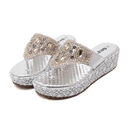 Wholesale Beaded Platform Sandals - 2016 Silver Gold Platform Low Heel Rhinestone Sandals Flip Flops for Women Beaded Shoes Size 35 To 40