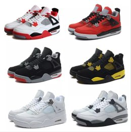 Wholesale Cheap Military Shoes - Cheap Air retro 4 IV Men Basketball shoes Military Blue Pure Mars Thunder bred Oreo Fire Red White Cement Shoes Free Shipping