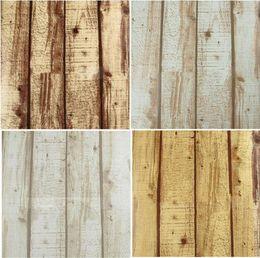 Wholesale Cheap Wallpaper Decor - pvc Cheap Natural Realistic Rustic Wood Panel Grained Effect Feature Designer Textured Vinyl 10M Wallpaper Roll Decor Art Vintage W521