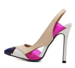 Wholesale Back Out Wedding Dresses - Europe fashion Sling back color block pumps shoes women high heels beige wedding shoes 2 colors size 35 to 40