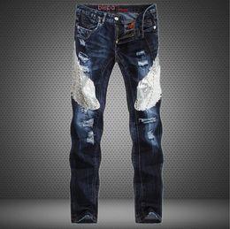 Wholesale Stylish Casual Pants - Wholesale-Unique Stylish Beadings new mens Luxury jeans straight ripped jeans fashion hip hop for men casual denim biker pants jeans