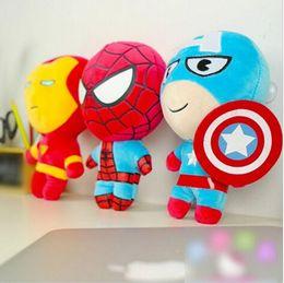 Wholesale Superman Stuff Doll - 2015 The Avengers Plush Toy 7.8 inches Q Version Stuffed Dolls Spider-Man Captain America Thor Iron Man Batman Superman The Hulk Hawkeye NEW