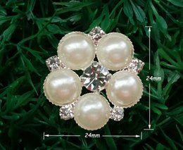 Wholesale Pearl 24mm - 50pcs lot 24mm metal rhinestone button with pearl flower cluster hair flower for Party Craft DIY Wedding Invitation Supplies A19