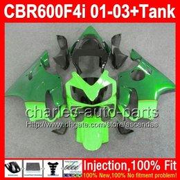 Wholesale Honda Cbr F4i Lights Fairings - +Tank Green light green For HONDA CBR600 F4i 01-03 CBR 600 F4i 600F4i 01 02 03 2L7262 Green Injection FS CBR600F4i 2001 2002 2003 Fairing
