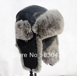 Wholesale Genuine Fur Bomber Hats - Wholesale-Genuine leather faux rabbit fur bomber cap thermal winter cold-proof skiing hat