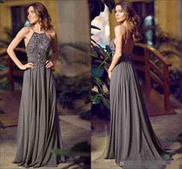 Wholesale Grey Sequin Long Dress - New Arrival Sexy Halter Neckline Sleeveless Long Evening Dress Beaded Chiffon Grey A-line Sweep Train Backless Prom Party Dresses Gowns