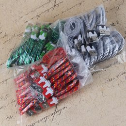 Wholesale Noodle 4s - 2017 USB Micro Braided Fabric Charger Data Sync Nylon Flat Noodle Cable Cord 1M 2M 3FT 6FT for I phone 4 5 4s 5s Samsung Galaxy S6 Note 4