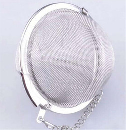 Wholesale Tea Makers Wholesale - 200pcs lot tea infuser Strainer Stainless Steel Tea Pot Infuser Mesh Ball filter with chain tea maker tools