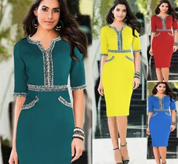 Wholesale Cheap Ladies Work Clothes - Fashion Women Summer Dress Office Dress Cheap Tunic Pencil Bodycon Women Casual Work Ladies Trendy Clothes With Beaded Half Sleeve OXL140804