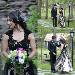Wholesale Vintage Gothic - Modest Black and White Wedding Dresses Short Front Long Back Tulle Sweetheart Vintage Plus Size Lace Gothic 2016 Spring Summer Bridal Gowns