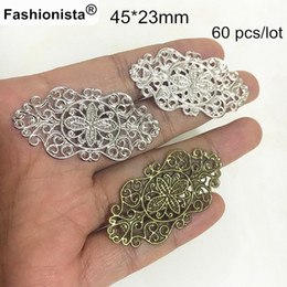 Wholesale Wholesale Bronze Jewels - Gold-color   Silver-color   Steel   Bronze Filigree Metal Stampings,45*23mm OX Filigree Connectors,DIY Jewel Materials - 60 pcs