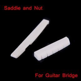 Guitarra acústica faz on-line-Acessórios de Guitarra de alta Qualidade Sela e Porca Feito de OX Osso para 6 Cordas Ponte de Guitarra Acústica