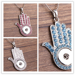 Wholesale Nations Red - 2015 New Fashion NOOSA Nation Style Hamsa Necklace Jewelry Pendants Metal Snap Button Palm Statement Pendant Necklace