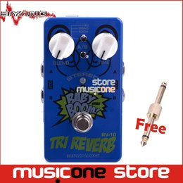 Wholesale Pedal Connectors - Wholesale- Biyang Baby Boom RV-10 blue Effects 3 Mode Tri Reverb Stereo True Bypass Electric Guitar effect Pedal with gold pedal connector