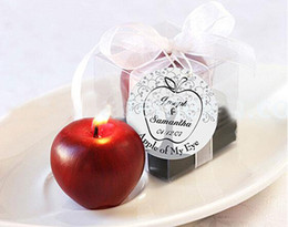 "Wholesale Personalized Wedding Gifts For Guests - Wholesale-30pcs free shipping personalized wedding favors and gifts for guests souvenirs --""Apple of My Eye"" Candle, baby show"