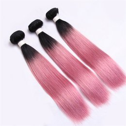 Wholesale 18 Inch Pink Hair Extensions - Human Hair Weave Malaysian Straight Hair Rose Pink Color 3 Bundles 10-30 inch Free Shipping Virgin Hair Extensions No Tangle No Shed