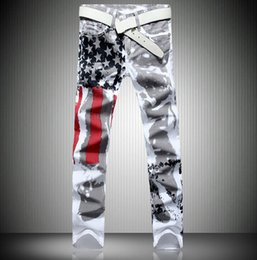 Wholesale American Flag Men Pants - Fashion Hot Mens Robin Jeans Famous Brand Denim With Wings American Flag Plus size