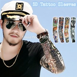 Wholesale Uv Sleeves Designs - Wholesale-[ 50%off ] 2pcs Fashion Punk Fake temporary tattoo sleeve mixed designs theme uv body Arm warmer stockings tatoo fishing sleeves