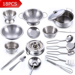 Wholesale Children Cooking Sets - Wholesale- 18Pcs Stainless Steel Children Kitchen Toys Miniature Cooking Set Simulation Tableware Toy Pretend Play Cook Toy for Kids Gift